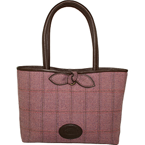 British Tweed and Real Leather Bag - 514 - The Bow Shopper