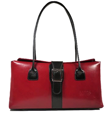 Real Italian Leather-0081 -  Red and Brown - Italian Real Leather bag
